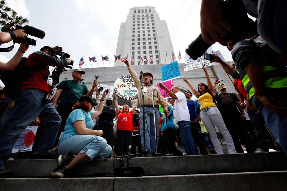 "David King, center, of Seed Library of Los Angeles, gives one of the many speeches during a rally Saturday, May 25, 2013 at City Hall in Los Angeles. ""March Against Monsanto"" protesters say they wanted to call attention to the dangers posed by genetically modified food and the food giants that produce it. Founder and organizer Tami Canal said protests were held in 436 cities in 52 countries."