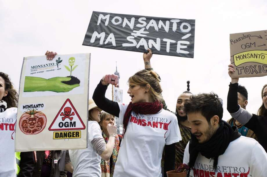 "Anti-genetically modified organism (GMO) activists gather on the Trocadero square near the Eiffel tower during a demonstration against GMOs and US chemical giant Monsanto on May 25, 2013 in Paris. Placard reads : ""Monsanto / My health"""
