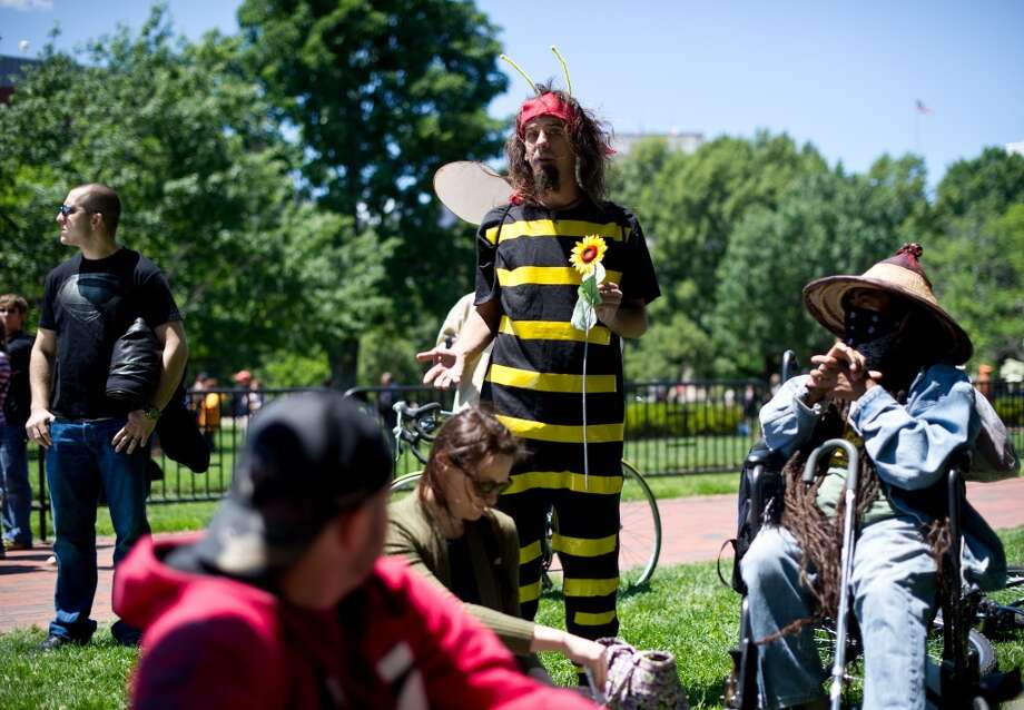 An activist dressed in a bee costume speaks during a demonstration against agribusiness giant Monsanto and genetically modified organisms (GMO) in front of the White House in Washington on May 25, 2013.