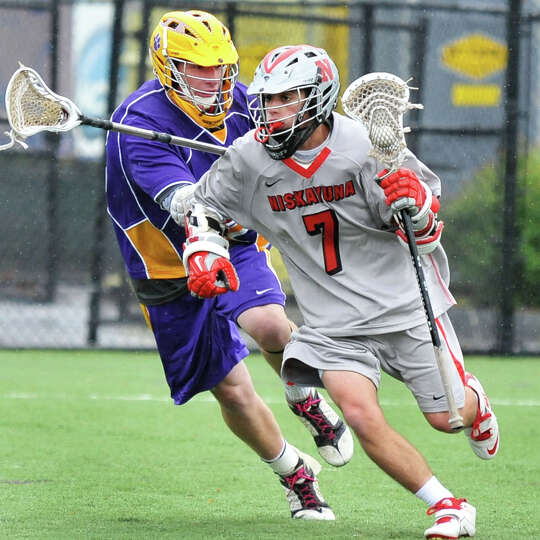 Niskayuna's #7 Matt DiVietro, at right, and Ballston Spa's #22 	Evan Priest during the Section II Cl