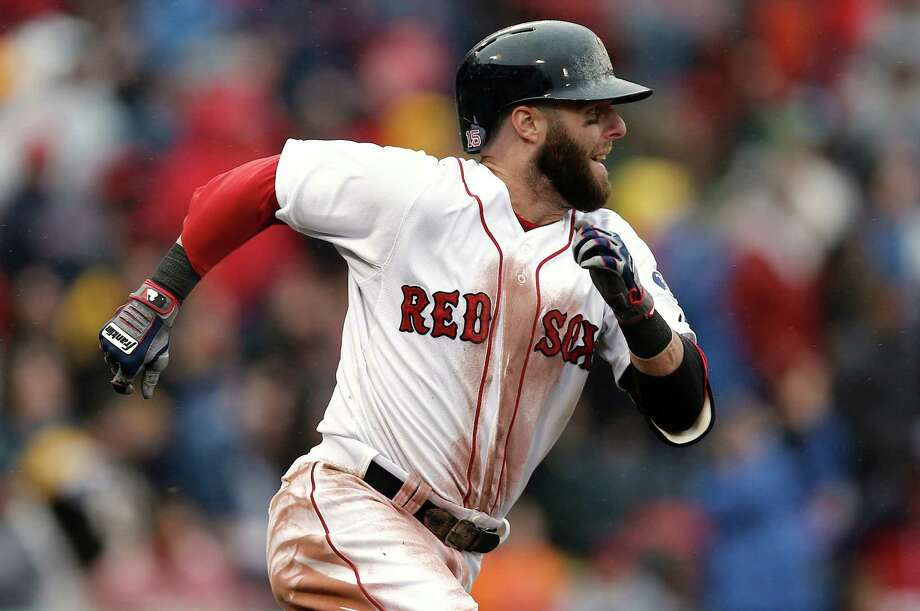 Boston Red Sox's Dustin Pedroia runs out his go ahead RBI double against the Cleveland Indians during the eighth inning of their 7-4 win in the MLB American League baseball game at Fenway Park in Boston Saturday, May 25, 2013. (AP Photo/Winslow Townson) Photo: Winslow Townson