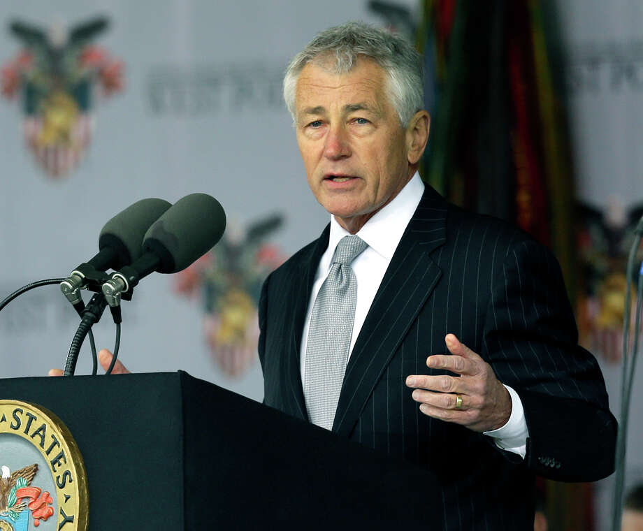Defense Secretary Chuck Hagel speaks during a graduation and commissioning ceremony at the U.S. Military Academy in West Point, N.Y. on Saturday, May 25, 2013. (AP Photo/Mike Groll) Photo: Mike Groll