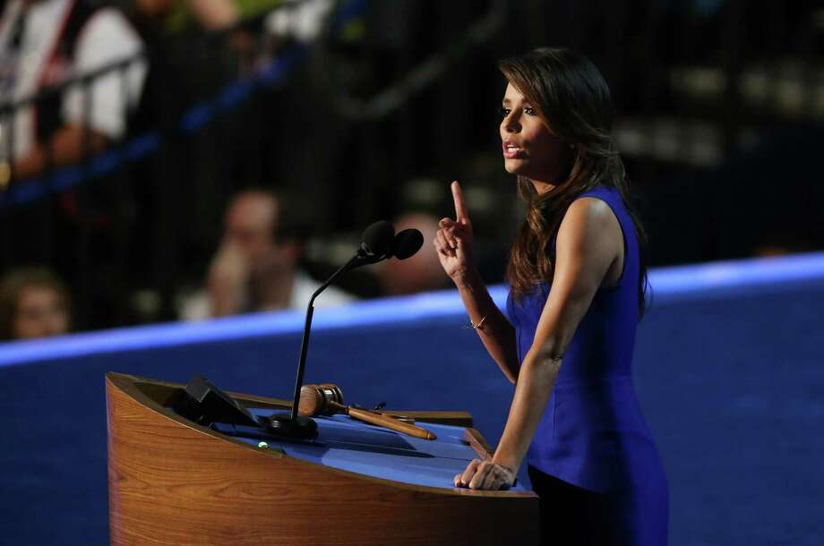 CHARLOTTE, NC - SEPTEMBER 06:  Actress Eva Longoria speaks on stage during the final day of the Democratic National Convention at Time Warner Cable Arena on September 6, 2012 in Charlotte, North Carolina. The DNC, which concludes today, nominated U.S. President Barack Obama as the Democratic presidential candidate. Photo: Streeter Lecka, Getty Images / 2012 Getty Images
