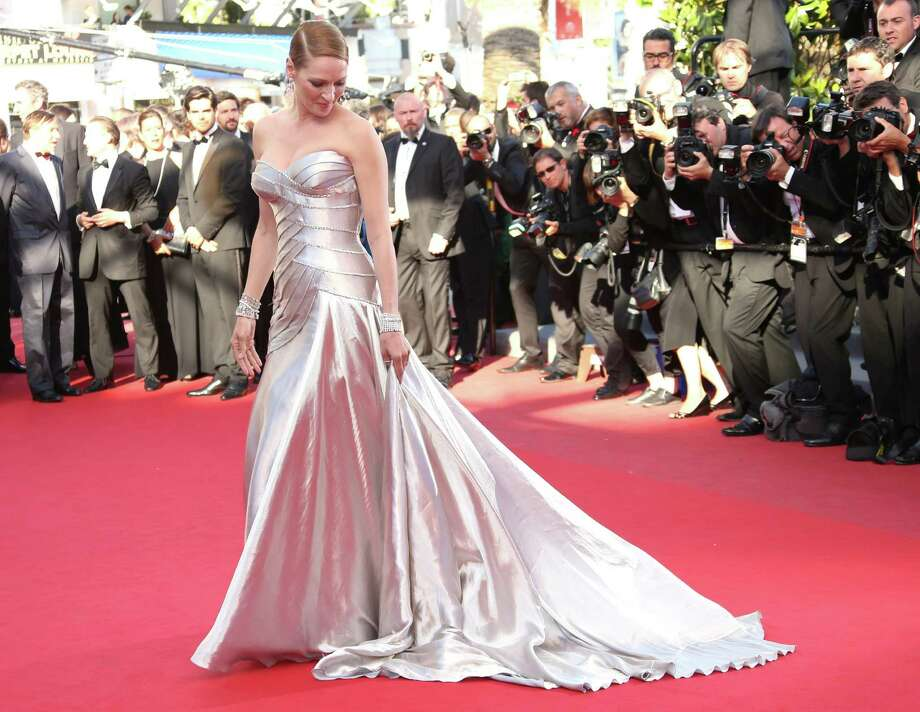 Actress Uma Thurman arrives for the awards ceremony of the 66th international film festival, in Cannes, southern France, Sunday, May 26, 2013. Photo: AP