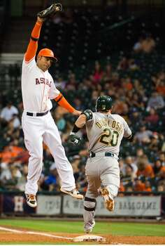 May 25: A's 11, Astros 5  Oakland has Houston's number so far this season, and after hanging six runs on starter Lucas Harrell in the second inning, they improved to 8-0 against the Astros this season.  Record: 14-35. Photo: Smiley N. Pool, Houston Chronicle