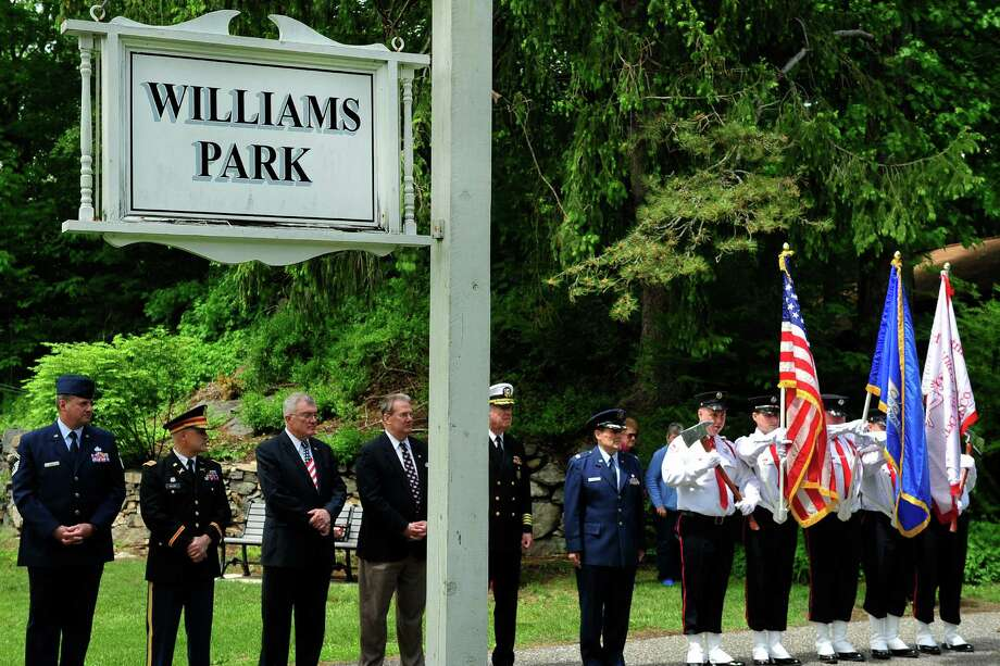 A memorial ceremony is held in Williams Park as part of the Memorial Day parade in Brookfield, Conn. Sunday, May 26, 2013. Photo: Michael Duffy / The News-Times