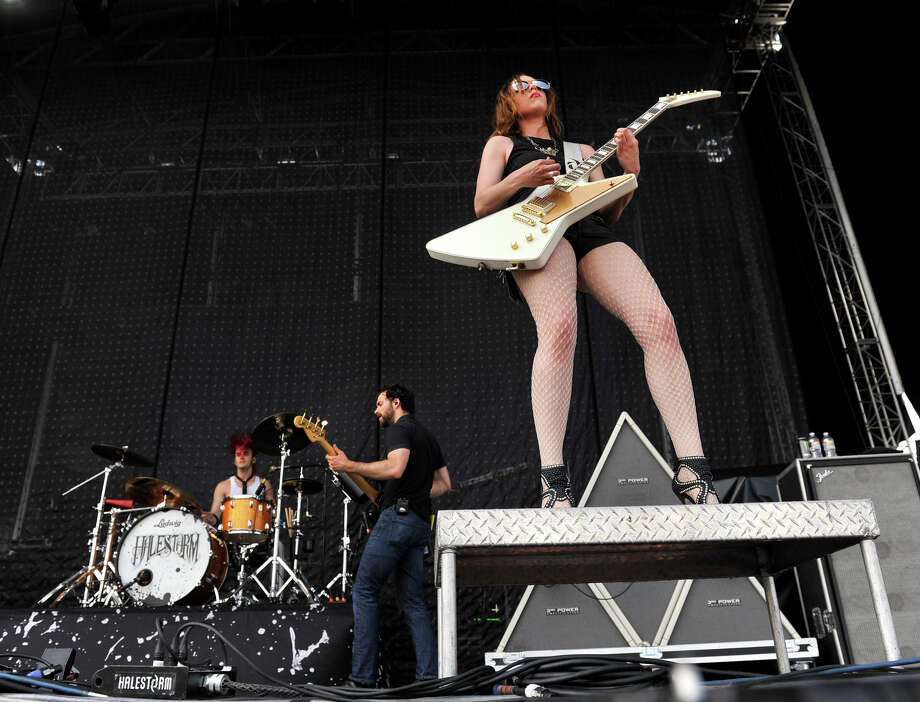 Lzzy Hale leads the band Halestorm during the first annual River City Rockfest Sunday afternoon, May 26, 2013, at the AT&T Center. Photo: Robin Jerstad, For The San Antonio Express-News