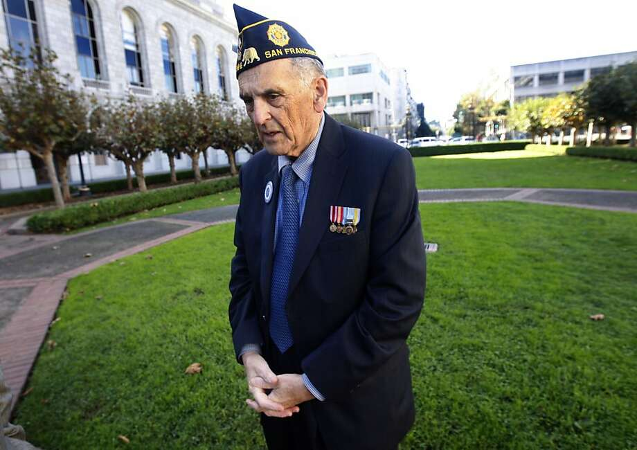 Retired Army Lieutenant Colonel Wallace Levin stands at the site of a future Veterans Memorial at a ceremony to announce the three design team finalists chosen for its design outside the War Memorial Veterans Building in San Francisco, Calif., on Wednesday, Nov. 10, 2010. A committee will select the winning design in May 2011. Photo: Paul Chinn, The Chronicle