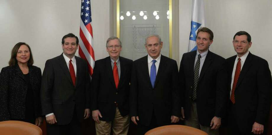 Sen. McConnell and the new Republican Senators with Israeli Prime Minister Netanyahu