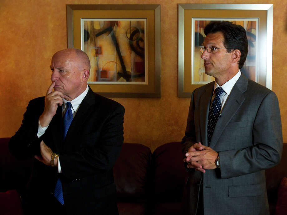 Kevin Brady, R-Texas, and Eric Cantor answer questions during a fundraising event Friday, Aug. 12, 2011, in The Woodlands. Photo: Cody Duty, Houston Chronicle / © 2011 Houston Chronicle