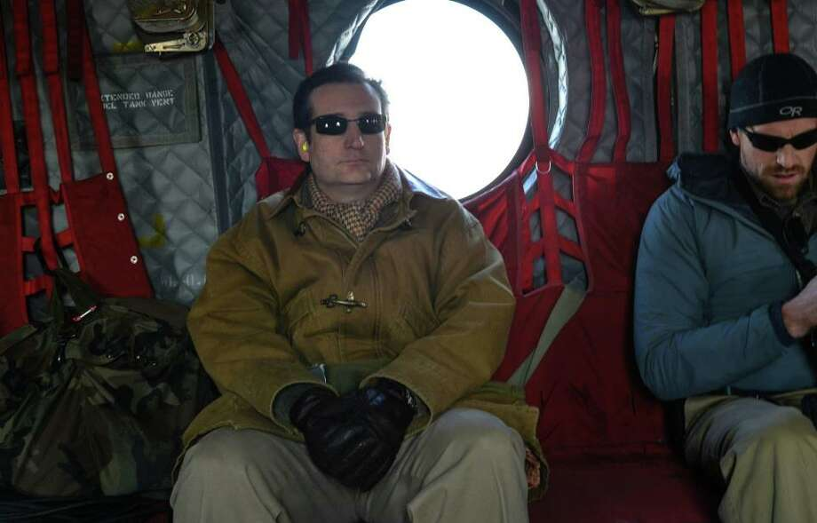 Sen. Ted Cruz en route to a briefing via Chinook helicopter.