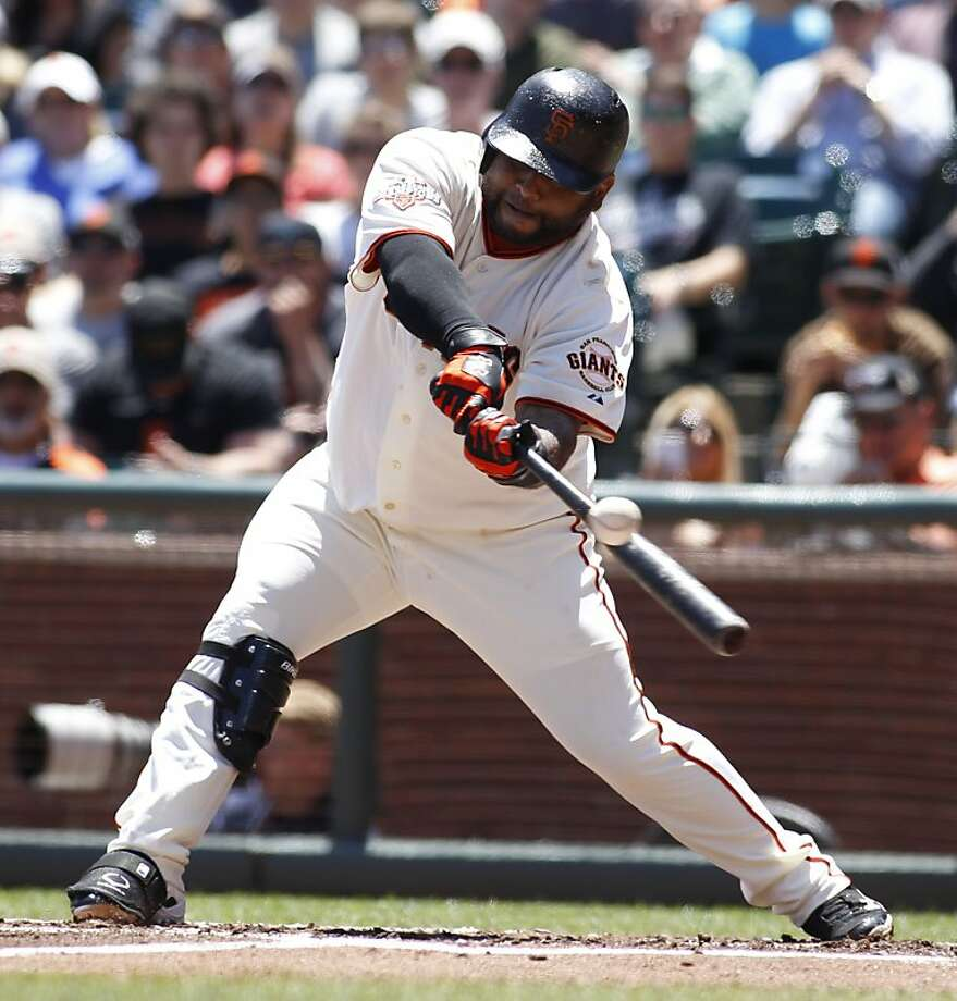 Keep your eyes on Pablo Sandoval in the A's-Giants series, as the third baseman always seems to be around the action. Photo: George Nikitin, Associated Press