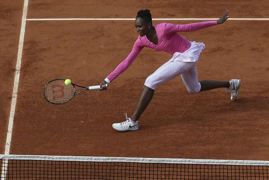 Venus Williams lost 7-6 (5), 6-7 (4), 6-4 to Poland's Urszula Radwanska in Round 1 of the French Open. Photo: Michel Euler, Associated Press