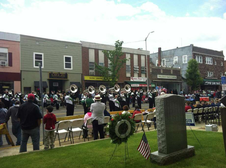 The Connecticut Hurricanes performed at the Memorial Day parade in Ansonia on Sunday. Photo: Michael P. Mayko/Staff Photo