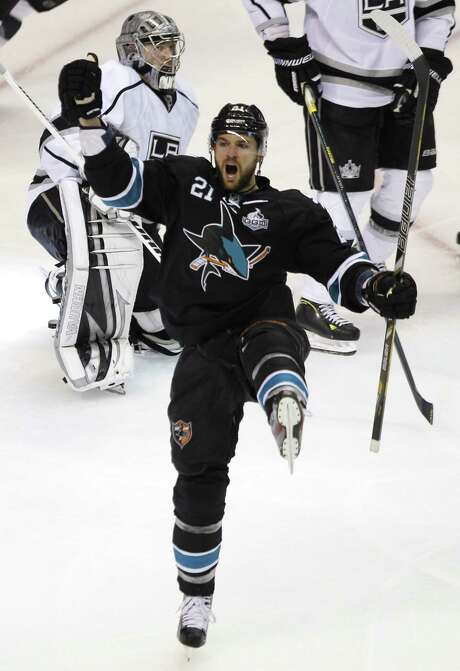 San Jose's TJ Galiardi (21) savors the moment after scoring what turned out to be the game-winner in the second period of the Sharks' 2-1 victory over visiting Los Angeles in Game 6 of the NHL Western Conference semifinals. Photo: Josie Lepe, MBR / San Jose Mercury News