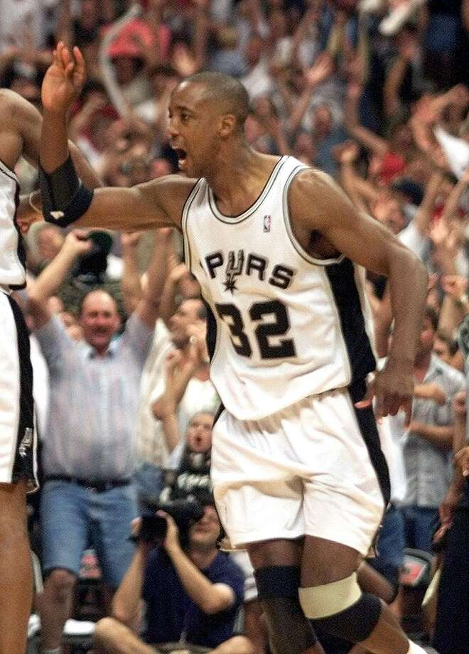 1998-99 - Portland, conference finals, 4-0 - The Spurs' Sean Elliott celebrates his winning 3-pointer against the Trail Blazers during Game 2 of the Western Conference Finals on May 31, 1999 at the Alamodome. The Spurs beat the Trail Blazers 86-85 to take a 2-0 lead in the best-of-seven series. The Spurs went on to beat the Knicks in the Finals to win their first NBA title.