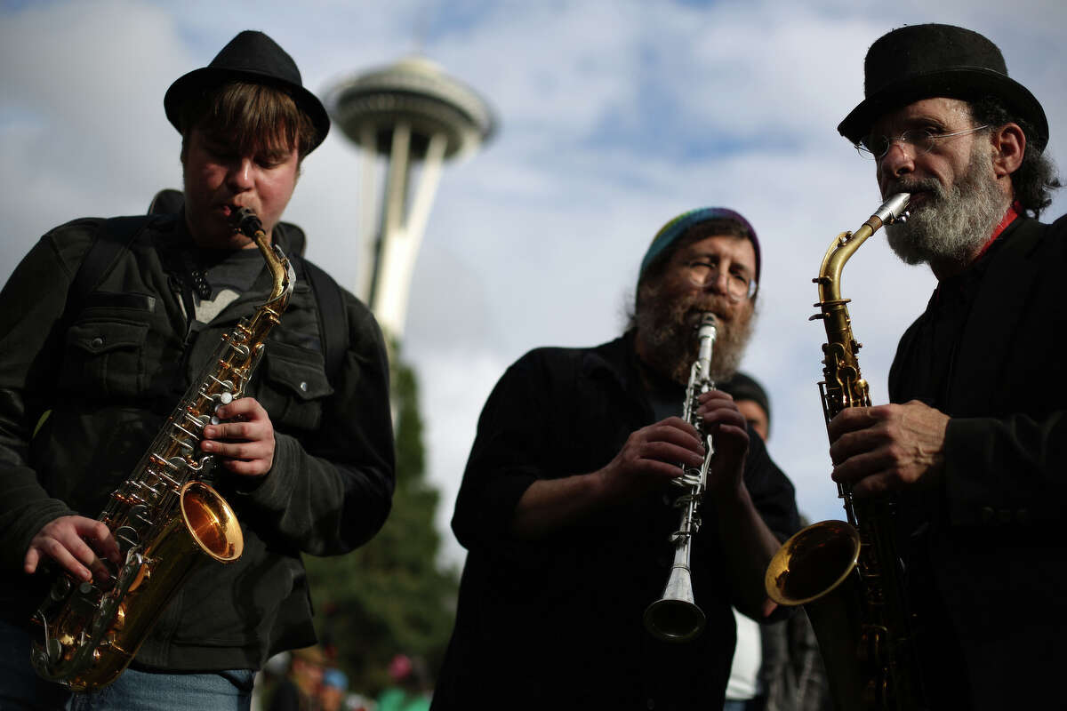 Musicians perform during the Northwest Folklife Festival.