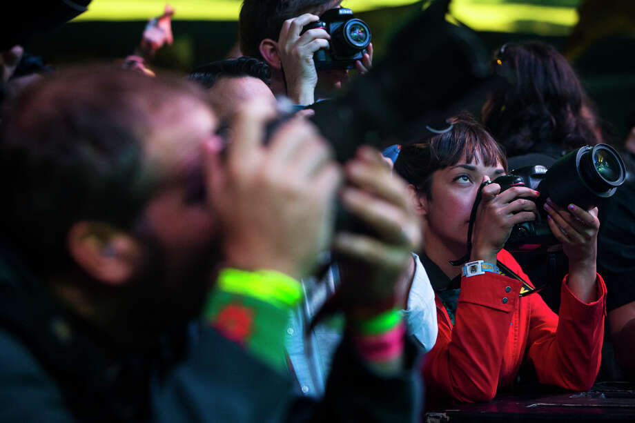 Press photographers worked every angle during a performance by Killer Mike on the third day of the annual Sasquatch music festival Sunday, May 26, 2013, at The Gorge Amphitheatre in George. Photo: JORDAN STEAD, SEATTLEPI.COM / SEATTLEPI.COM
