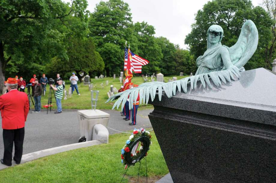 A view of the grave site during a memorial service at the grave of President Chester Arthur on Sunday, May 26, 2013 at the Albany Rural Cemetery.   (Paul Buckowski / Times Union) Photo: Paul Buckowski
