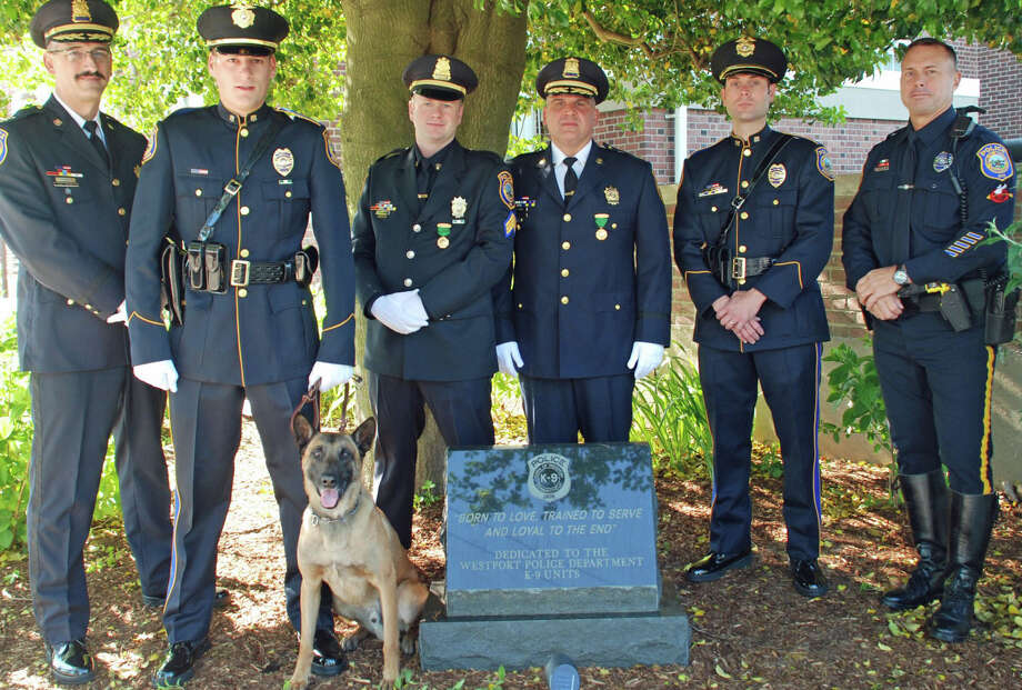 "Assembled for the dedication Monday of a memorial to the Police Department's service dogs are, from left: Chief Dale Call, a fromrer bloodhound handler; Officer James Loomer and K-9 ìKoda;"" Sgt. Ryan Paulsson, former bloodhound handler; Deputy Chief Foti Koskinas, a former patrol dog handler; Officer Marc Heinmiller, a former patrol dog handler, and Officer Richard Failla, a former patrol dog handler. Photo: Contributed Photo / Westport News contributed"