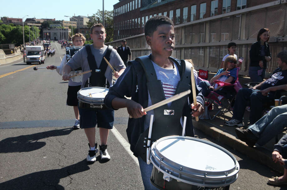 Fifth grader Andrew Jack performs with Perry Hill School, in Shelton, during the annual Derby Shelton Memorial day parade on Monday, May 27, 2013. Photo: BK Angeletti, B.K. Angeletti / Connecticut Post freelance B.K. Angeletti