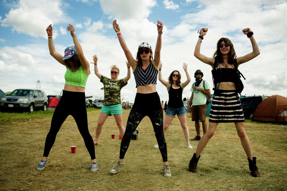 Girls break out in a random dance routine while headed into the third day of music of the annual Sasquatch music festival Sunday, May 26, 2013, at The Gorge Amphitheatre in George. Photo: JORDAN STEAD, SEATTLEPI.COM / SEATTLEPI.COM