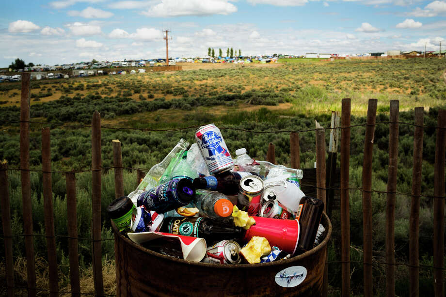 Alcohol bottles overflow from a container outside of the annual Sasquatch music festival Sunday, May 26, 2013, at The Gorge Amphitheatre in George. Photo: JORDAN STEAD, SEATTLEPI.COM / SEATTLEPI.COM