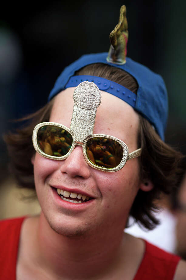 A man wearing phallic-shaped eyewear enjoys Youngblood Hawke on third day of the annual Sasquatch music festival Sunday, May 26, 2013, at The Gorge Amphitheatre in George. Photo: JORDAN STEAD, SEATTLEPI.COM / SEATTLEPI.COM