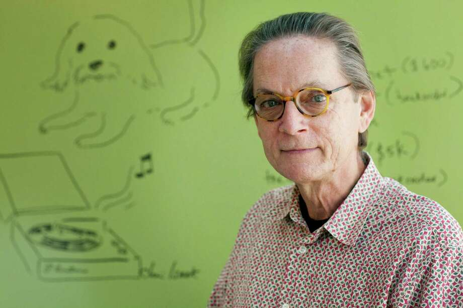 OS ANGELES - SEPTEMBER 21ST: Music producer Bill Bentley with Vanguard Records sits in the conference room at Vanguard's Los Angeles, California, offices on Friday morning, September 21st, 2012. The drawing of the dog and phonograph on the wall behind him was done by musician Chris Isaak. photo by Stephanie Diani LOS ANGELES - SEPTEMBER 21ST: Music producer Bill Bentley with Vanguard Records sits in the conference room at Vanguard's Los Angeles, California, offices on Friday morning, September 21st, 2012. The drawing of the dog and phonograph on the wall behind him was done by musician Chris Isaak. photo by Stephanie Diani Photo:  Stephanie Diani