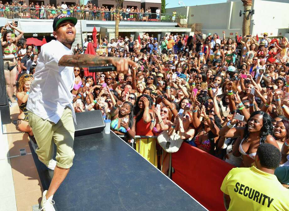 Singer Chris Brown performs at the Palms Pool at the Palms Casino Resort to celebrate Memorial Day weekend on May 26, 2013 in Las Vegas, Nevada.  (Photo by Bryan Steffy/WireImage) Photo: Bryan Steffy, Getty Images / 2013 WireImage