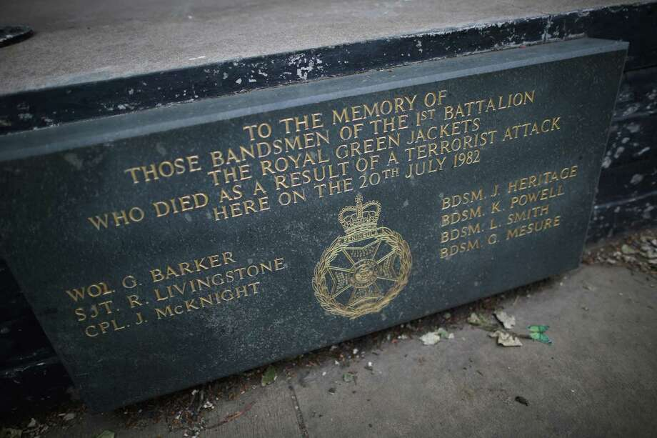 A memorial stone marks the spot at Regent's Park bandstand where seven bandsmen were killed on May 22, 2013 in London, England. Anthony Downey has today been charged with the 1982 Hyde Park bombing in which four soldiers of the Royal Household Cavalry and seven horses were killed. The second bomb that day killed seven Royal Green Jackets bandsmen who were at the Regent's Park bandstand. Photo: Peter Macdiarmid, Getty Images / 2013 Getty Images
