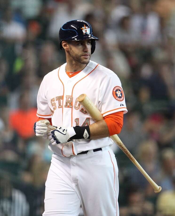 J.D. Martinez of the Astros reacts after striking out.