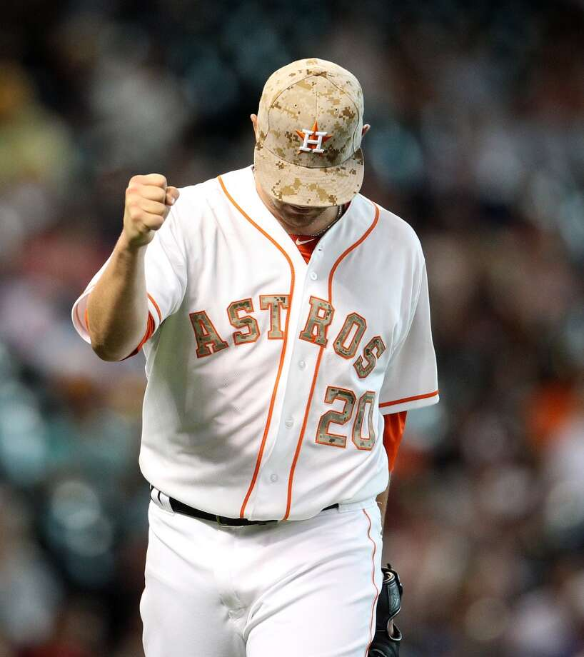 Bud Norris of the Astros reacts after getting out of the fifth inning.