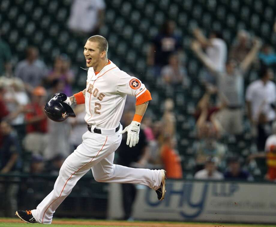 Astros right fielder Brandon Barnes reacts after his game-winning hit.