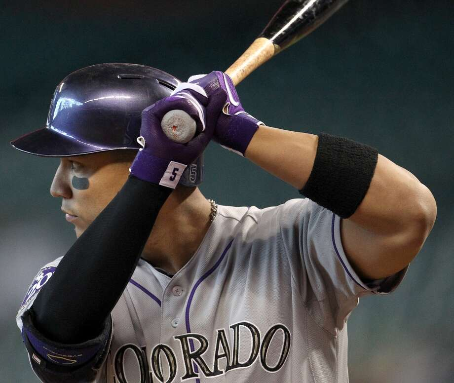 Rockies left fielder Carlos Gonzalez at bat during the first inning.