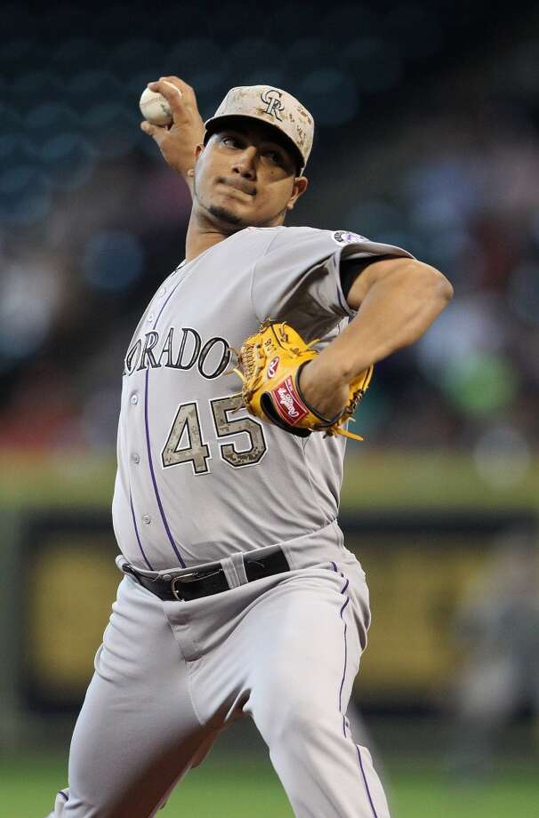 Rockies starting pitcher Jhoulys Chacin pitches.