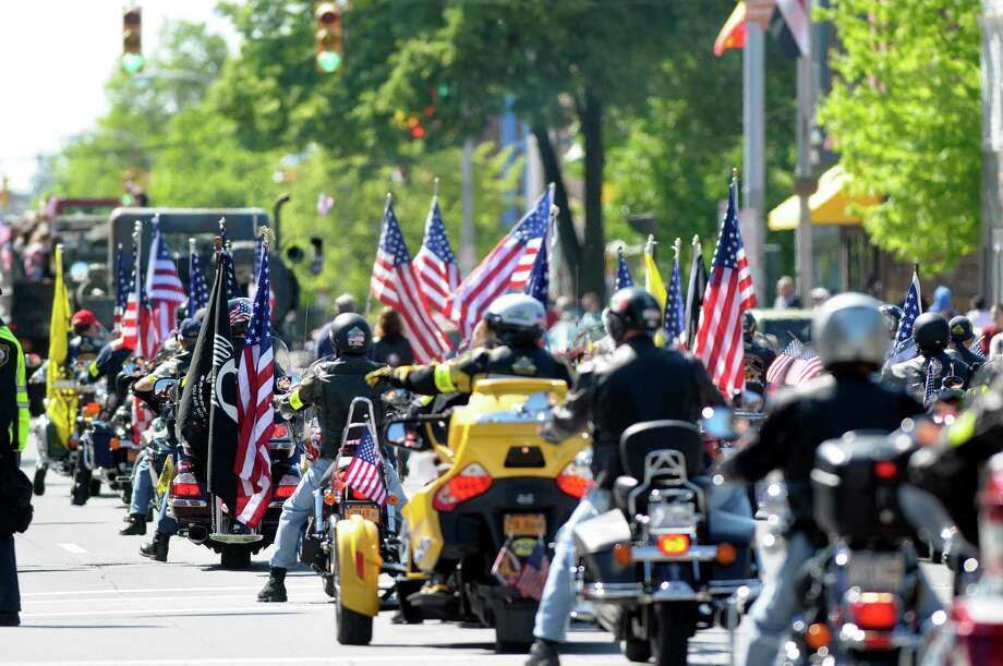 Members of the Patriot Guard Riders take part in the Albany Memorial Day Parade on Monday, May 27, 2013 in Albany, NY.   (Paul Buckowski / Times Union) Photo: Paul Buckowski