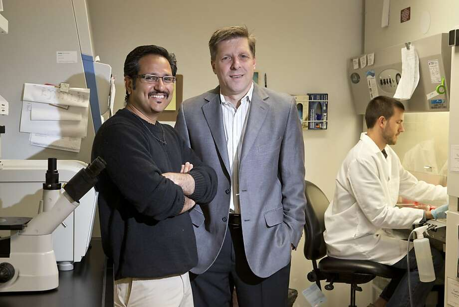 Deepak Lamba, assistant professor of the Buck Institute (left), and CEO Brian Kennedy, who says creating a repository will reinforce California as a go-to place for stem cell lines and help drive a lot of research. Photo: Beck Diefenbach, Special To The Chronicle