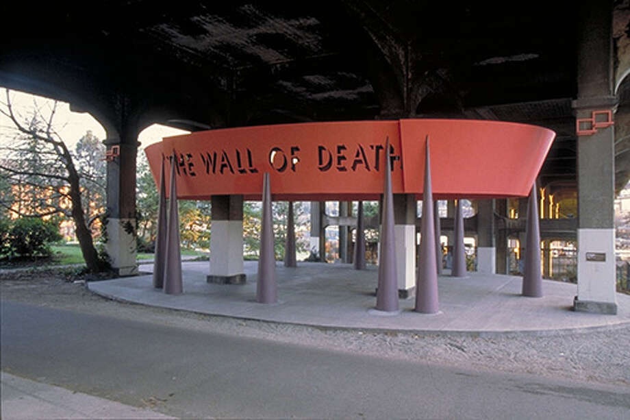 It's the 1993 ''The Wall of Death'' sculpture under the University Bridge on the Burke-Gilman Trail. Skateboarders used to ride the ramp on the other side of the trail,  before the city installed some rocks to stop the activity. 