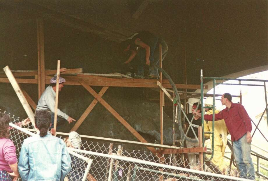 Lead artist Steve Badanes and others at Troll's construction.  (Photo courtesy of Michael Falcone and 'The Hall of Giants')