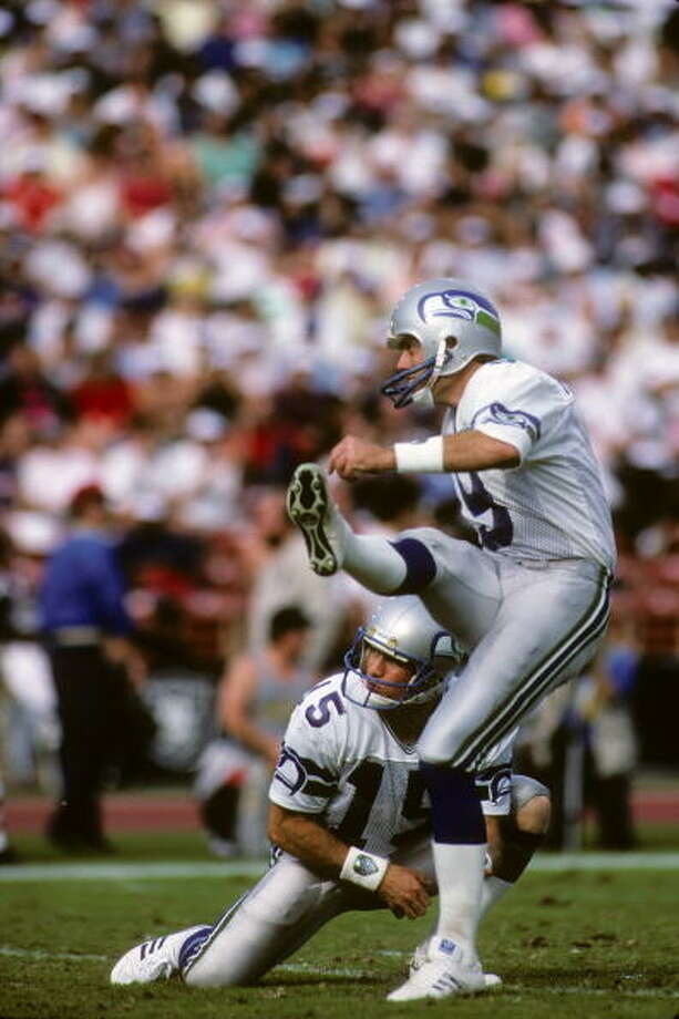 Kicker: Norm Johnson (1982-90) Pro Bowl: 1984, '93 | All-Pro: 1984  Of his 18 years in the NFL, half of them were with the Seahawks. He got his start in Seattle, and by 1984 he was great enough for both Pro Bowl and All-Pro honors. Johnson still holds the franchise records for total career points with 810. After 1990, he went on to play four years in Atlanta, four years in Pittsburgh then one more in Philadelphia.  Photo: George Rose, Getty Images / 1987 Getty Images