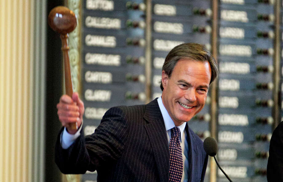 Speaker of the House Joe Straus, R-San Antonio, smiles as he bangs the gavel closing Sine Die on the 83rd Legislator held at the State Capitol on Monday, May 27, 2013, in Austin, Texas. Soon after the closing of the 83rd Legislator Governor Rick Perry called for a special session to begin immediately to consider  redistricting. (AP Photo/Austin American-Statesman, Rodolfo Gonzalez) Photo: Rodolfo Gonzalez, Associated Press / Austin American-Statesman