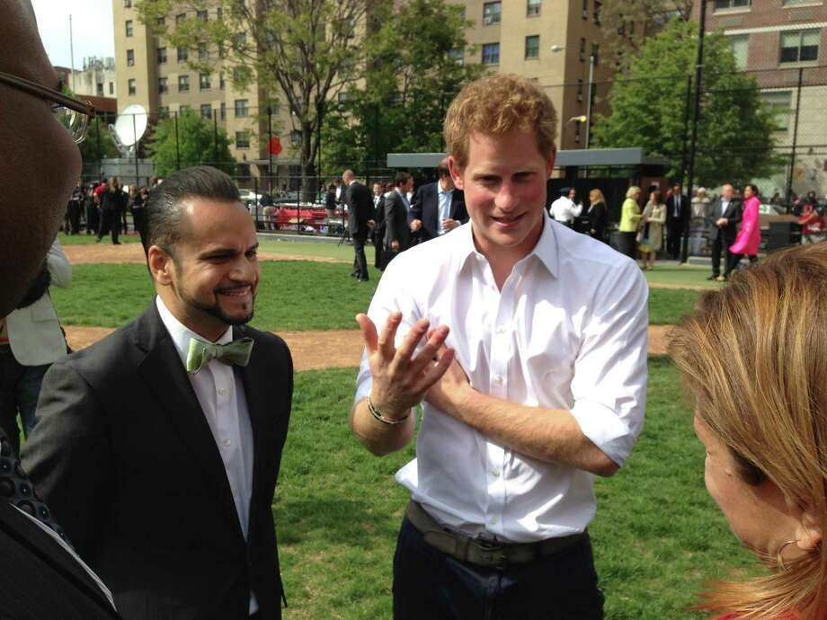 "Manhattan Sen. Jose Serrano, left, met British Prince Harry on a recent visit to East Harlem. Serrano said the prince told him, ""I love your smart-looking bow tie."" (Provided photo)"