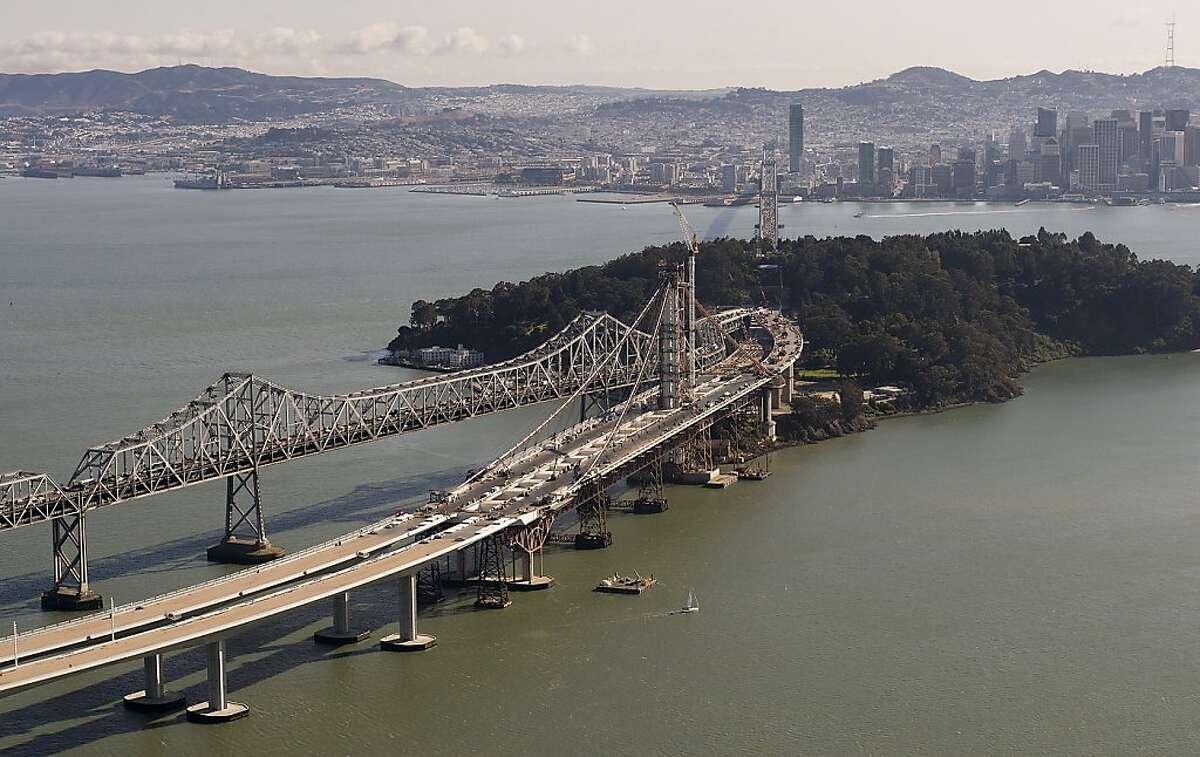 The San Francisco-Oakland Bay Bridge connects tso Yerba Buena Island as is crosses San Francisco Bay in this 2012 file photo. (Paul Kitagaki Jr./Sacramento Bee/MCT)