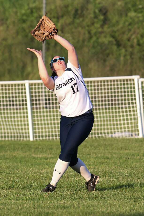 Mike Ross Connecticut Post freelance -Lauralton Hall's #17 Jenna Bump eyes a pop-up during Monday evening SWC softball Championship game against Masuk High School. Masuk would win 7-0. Photo: Mike Ross / Mike Ross Connecticut Post freelance -www.mikerossphoto.com