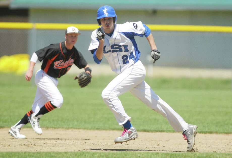 Dom Razzano of La Salle takes off towards third base in their game against Bethlehem  on Monday, May 27, 2013 in Troy, NY.