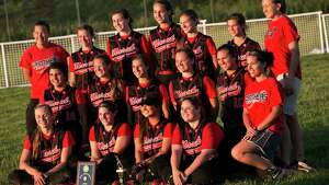 Mike Ross Connecticut Post freelance -Masuk High School softball team pose for a group photo with  trophies and awards on Monday after winning the SWC softball Championship game against Lauralton Hall. Masuk would win 7-0.