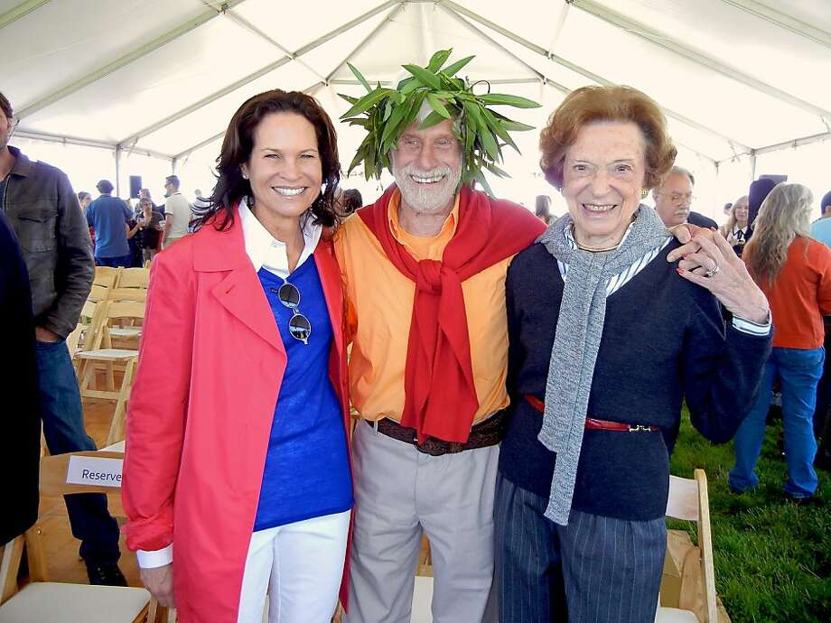 Randi Fisher (left) with artist Mark di Suvero and her mother-in-law, Doris Fisher, at Crissy Field for SFMOMA's preview of the artist's sculptures. Photo: Catherine Bigelow, Special To The Chronicle