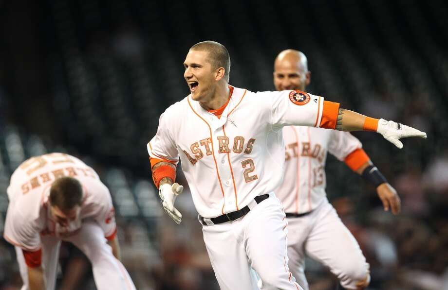 May 27: Astros 3, Rockies 2 (12)Brandon Barnes' game-winning ground rule double in the 12th inning gave the Astros their first walk-off win of the season.  Record: 15-36. Photo: Karen Warren, Houston Chronicle