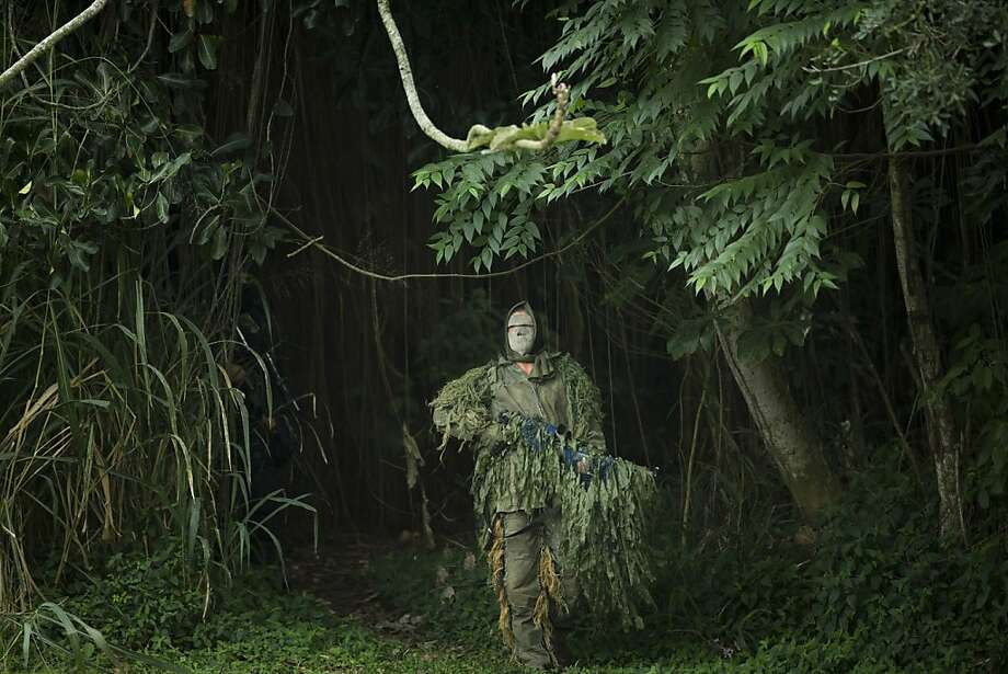 Shrubbery on the move: A Brazilian navy sniper reveals himself during a hostage rescue drill in Rio de Janeiro. The navy conducted the drill in preparation for the next month's Confederation Cup. Photo: Victor R. Caivano, Associated Press
